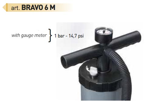 Bravo 6 M Raft Kayak Hand Pump with Pressure Gauge
